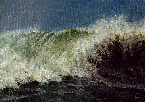 "Wave Study, 2008, 5"" x 7"", Acrylics on Canvas by David Jay Spyker"