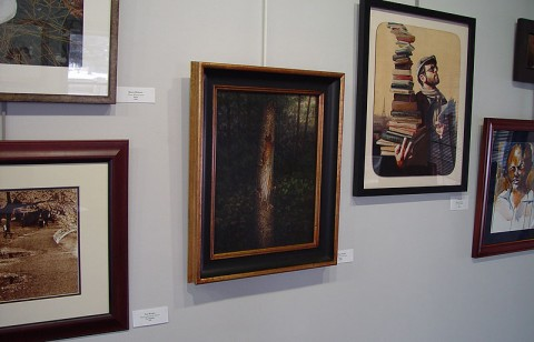Twilight in the Wood, painting by David Jay Spyker on display at Lowell Area Arts Council, MI