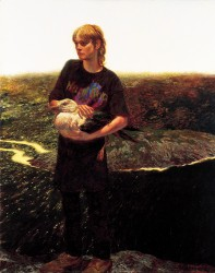 Portrait of Orca Bates, Jamie Wyeth, 1989, Oil on Panel, 50 x 40 in., Farnsworth Art Museum, Rockland, Maine