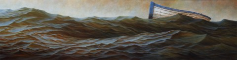 """Cradle"", 2011, Acrylics on Canvas, 13 x 49 in., by David Jay Spyker"