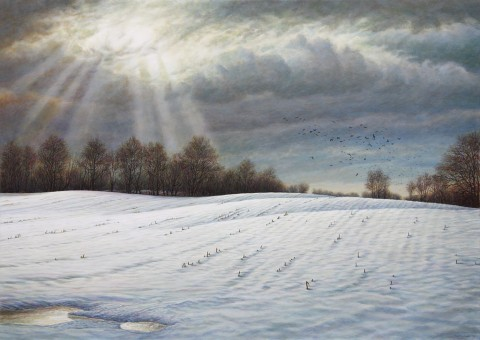 """Winter Murder"", 2012, Acrylics on Canvas, 30 x 42 in., by David Jay Spyker"