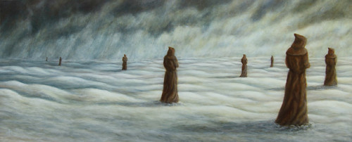"""Watchers"", 2002, Acrylic on Panel, 5 7/8 x 14 in., by David Jay Spyker"